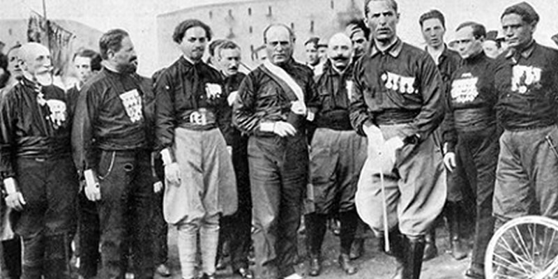 Benito Mussolini (centre) and his bemeddled blackshirts during the March on Rome