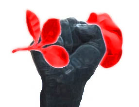 fist sculpture small red flat abstract