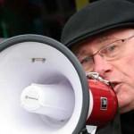 Roger Bannister with megaphone