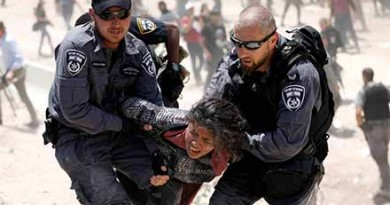 Israeli policemen detain a Palestinian girl in the Palestinian Bedouin village of al-Khan al-Ahmar near Jericho in the occupied West Bank July 4, 2018. REUTERS/Mohamad Torokman - RC1B2BE679F0