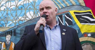"Steve Hedley, Senior Assistant General Secretary of the Rail, Maritime and Transport (RMT) union, makes a speech to members of the union protesting outside Paddington station in London, as train services on some of the country's busiest routes will be ""significantly"" hit because of a strike by rail workers."