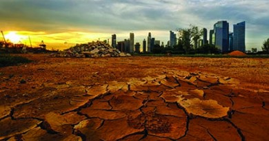 Singapore skyline at sunset and cracked earth